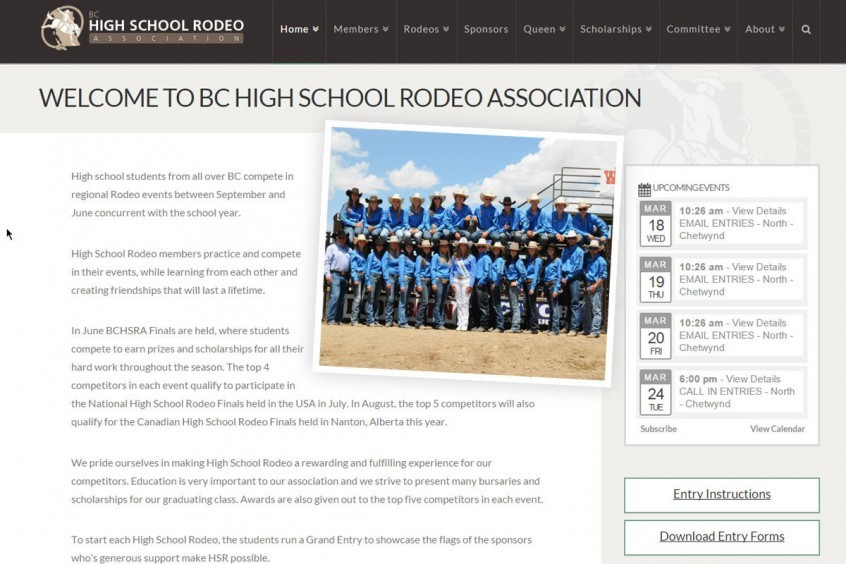 BC High School Rodeo Website Management