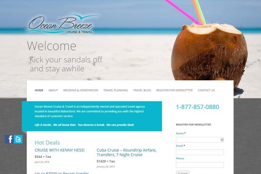 Ocean Breeze Cruise and Travel Wordpress Development